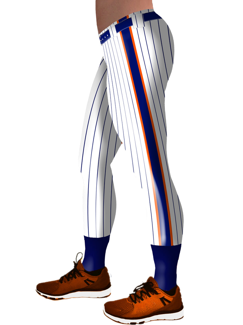 Baseball Pants Blue and Orange Racing Stripe