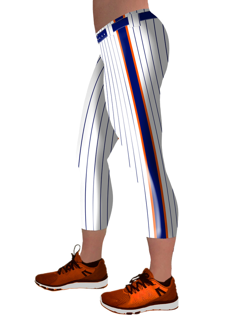 Baseball Pants Blue and Orange Racing Stripe- Capri