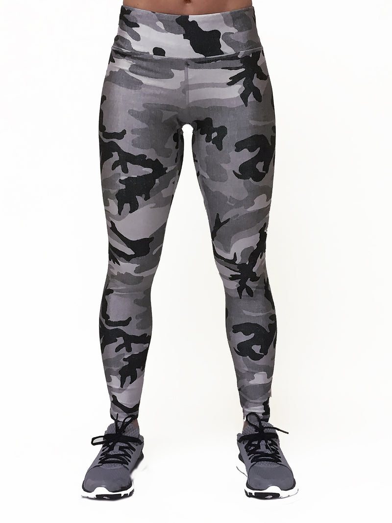 Heather Grey Camo - Wide band Capri