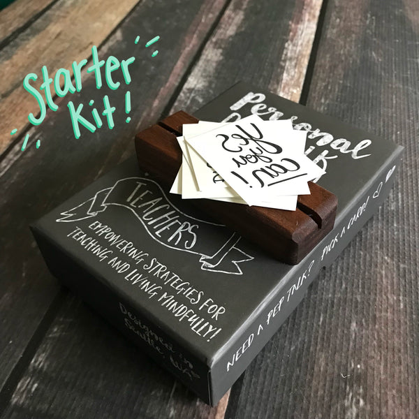 A personal pep talk for teachers starter kit with a mindfulness strategy card deck, inspiring temporary tattoos, and handcrafted wood display block