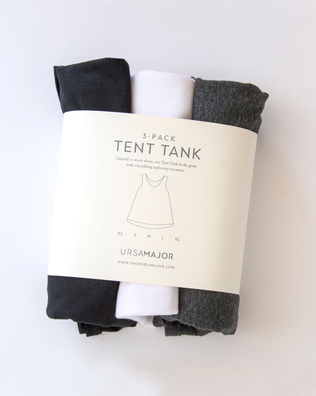 3-Pack Tent Tank / Black, White & Charcoal