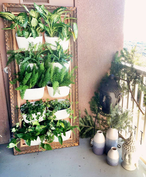 Framed Vertical Garden using Wally Eco on porch
