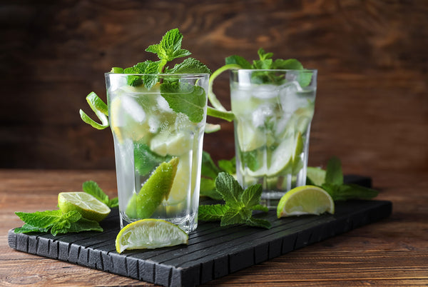 Mojito with mint leaves