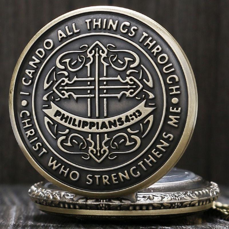 Philippians 4:13 Christian Bronze Quartz Pocket