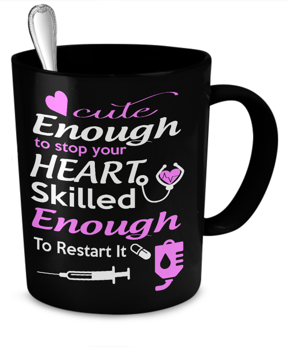 Cute Enough to Stop Your Heart - Nurse Mug Black - Kensleys - 2