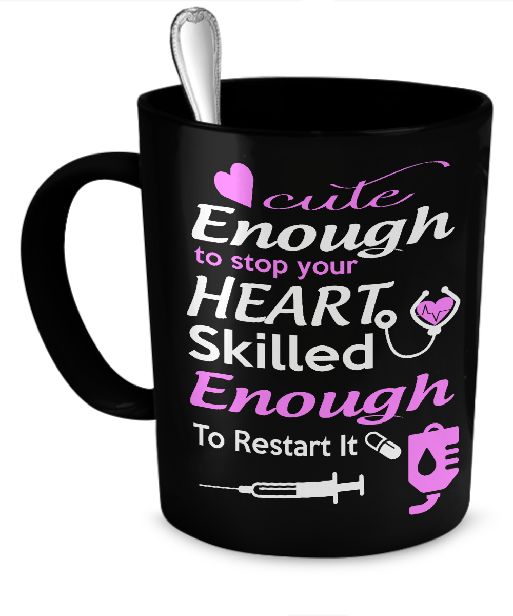 Cute Enough to Stop Your Heart - Nurse Mug Black - Kensleys - 1