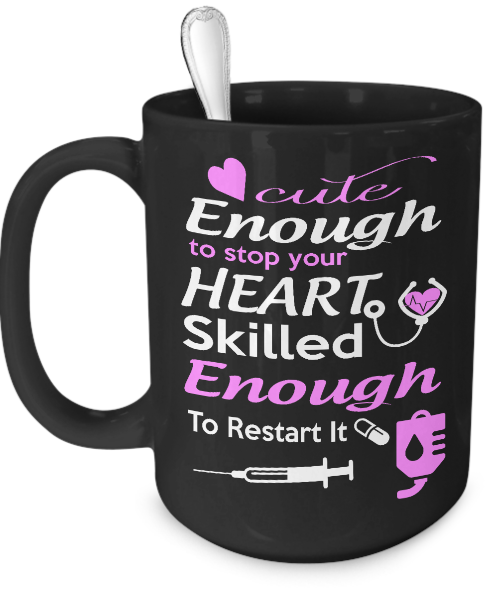 Cute Enough to Stop Your Heart - Nurse Mug Black - Kensleys - 3