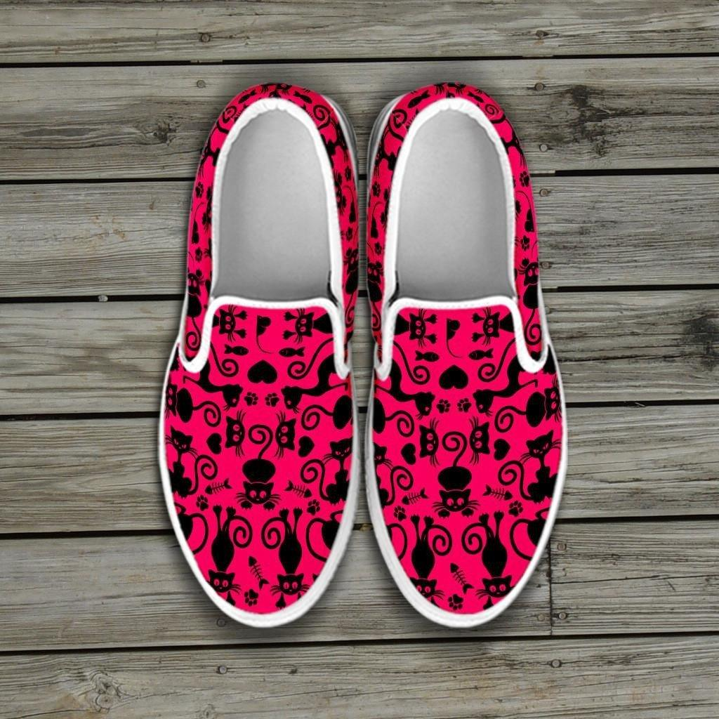 Cats Pink Slip Ons