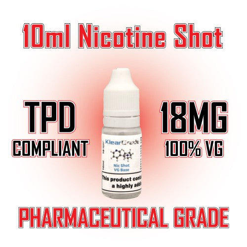 10 x Nicotine Shots 10ml 18mg