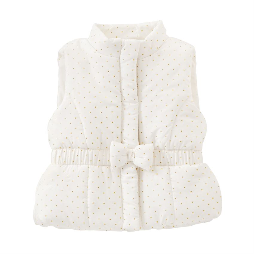 A-Dotable White Puffer Bow Vest
