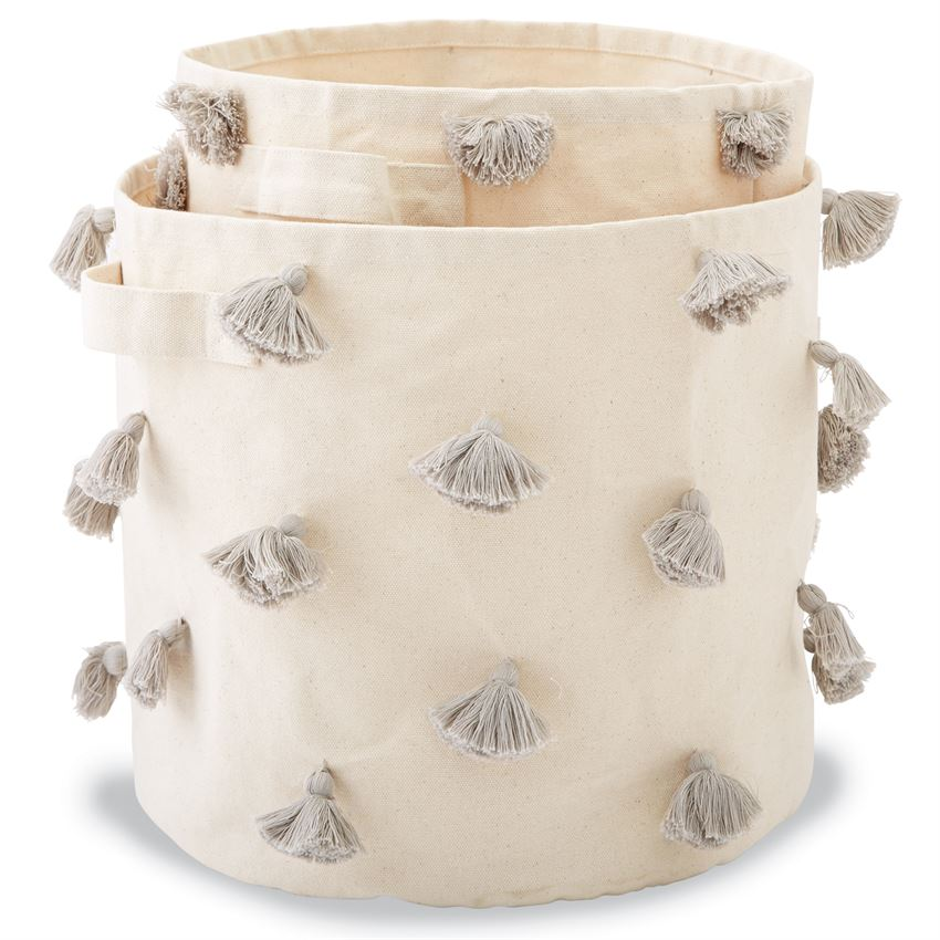 Grey Tassel Canvas Toy Bin
