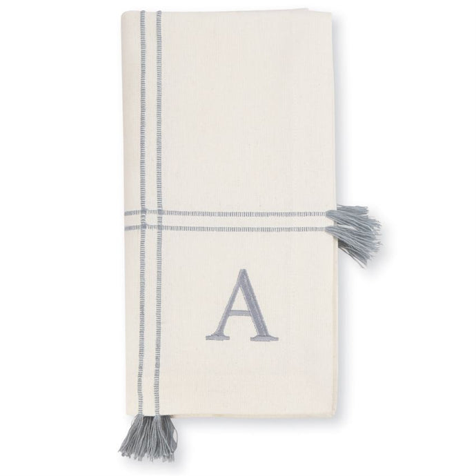Initial Cotton Tassel Dinner Napkin Set