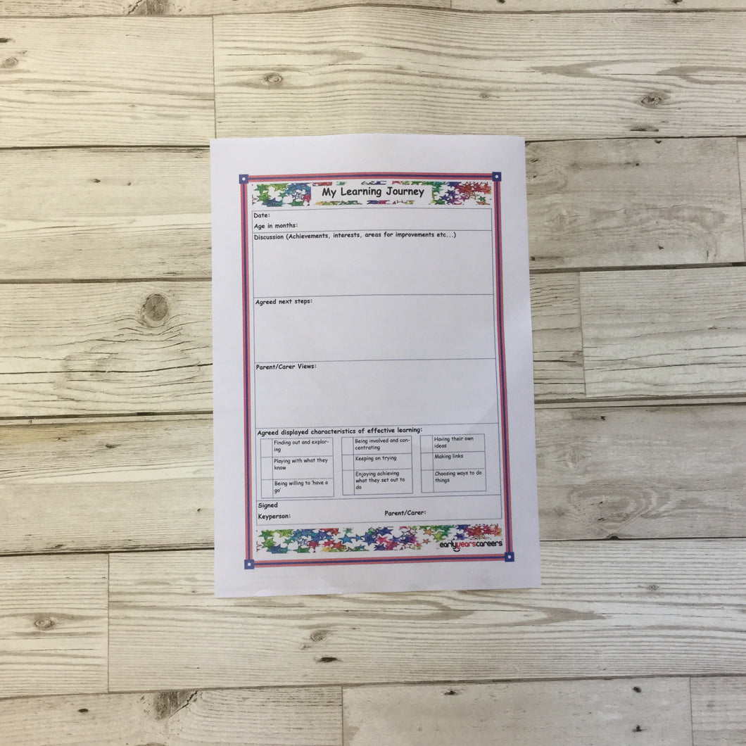 My Learning Journey Sheet