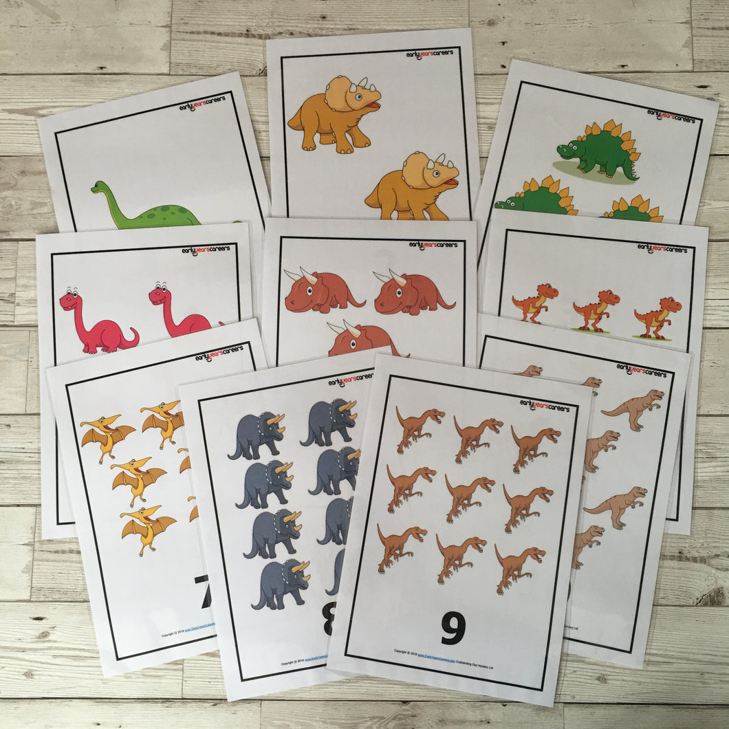 Early Years, EYFS , Ofstead, Development, Improvemment, Nursery, Childminder , Numbers, Number Posters, Dinosaur, Dinosaur Resources Dinosaur Numbers
