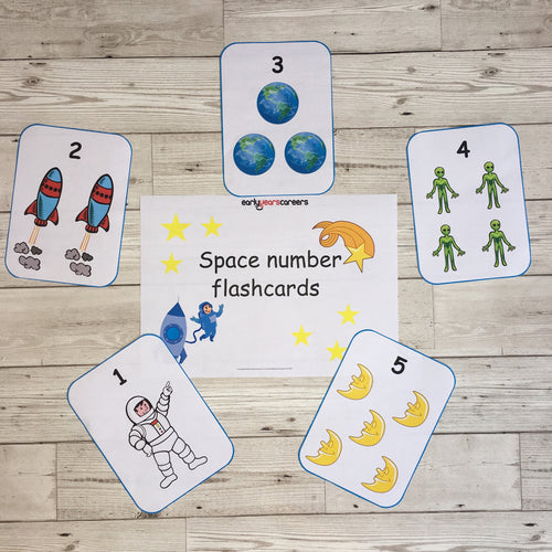 Early Years, EYFS , Ofsted, Development, Improvemment, Nursery, Childminder , Space Number Flashcards