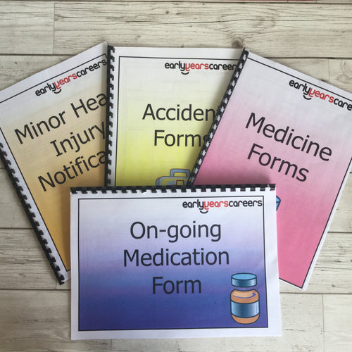 Early Years, EYFS , Ofstead, Development, Improvemment, Nursery, Childminder , Health, Wellbeing, Accident Form, Medicine Form, Ongoing Medication, Minor Head Injury Notification, Documents, Records