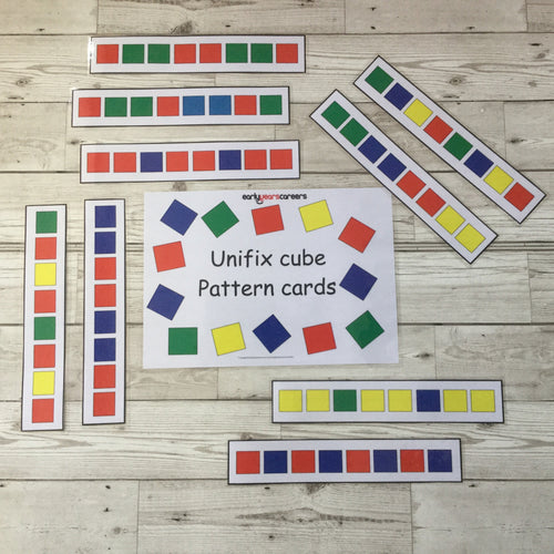 Early Years, EYFS , Ofsted, Development, Improvemment, Nursery, Childminder ,  Unifix Cube Pattern Cards