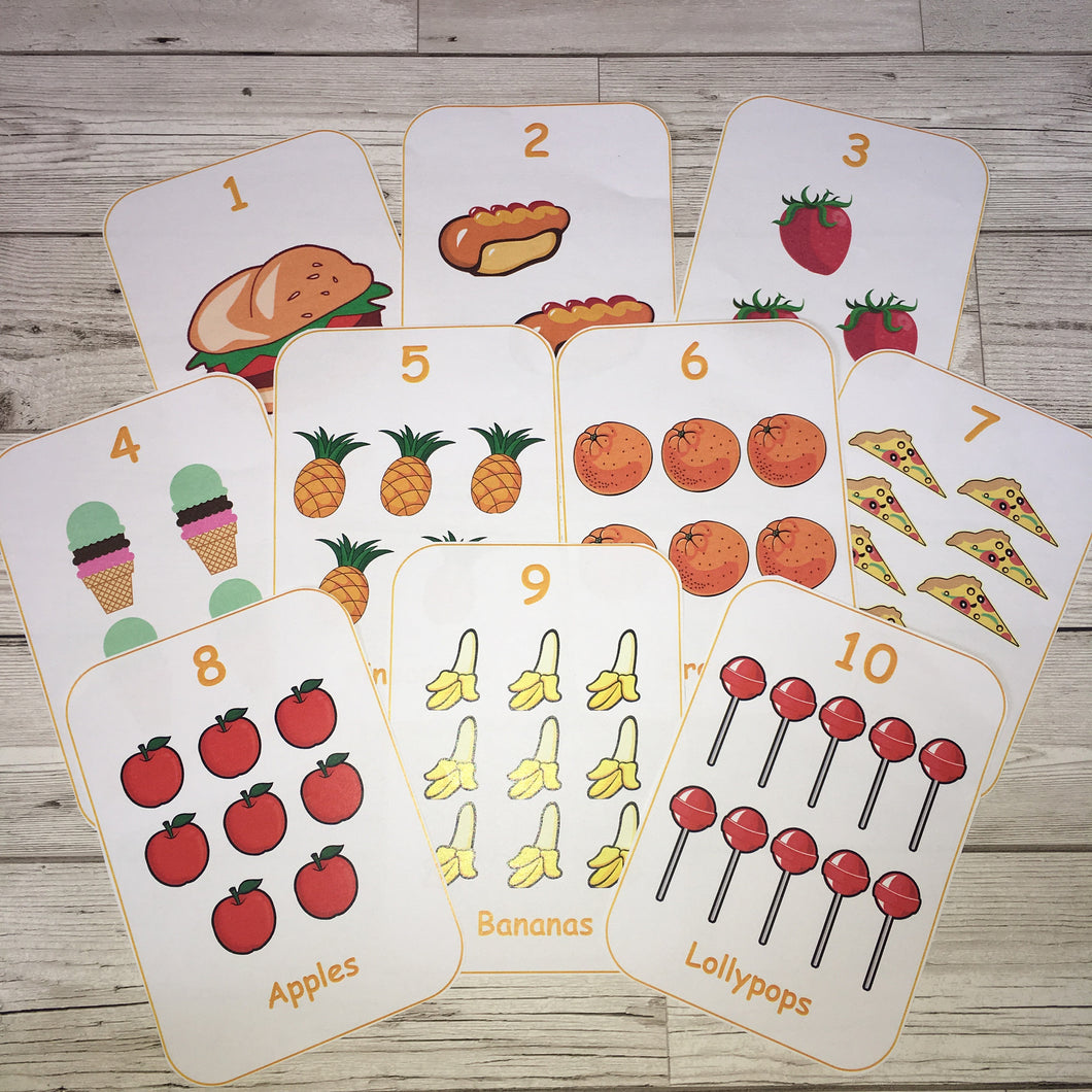 Early Years, EYFS , Ofsted, Development, Improvemment, Nursery, Childminder , Number food Flashcards