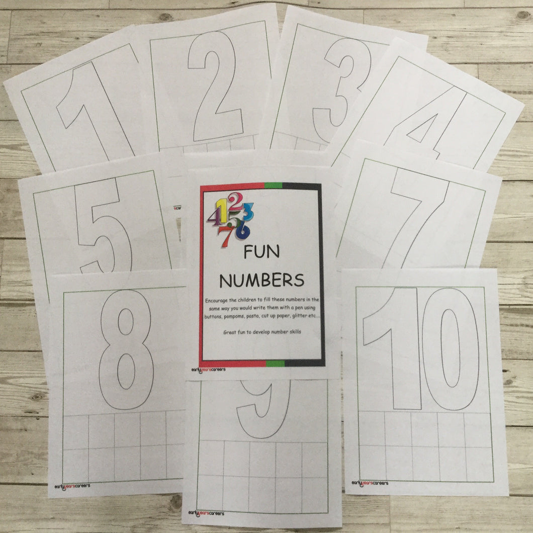 Loose Parts Number Sheets