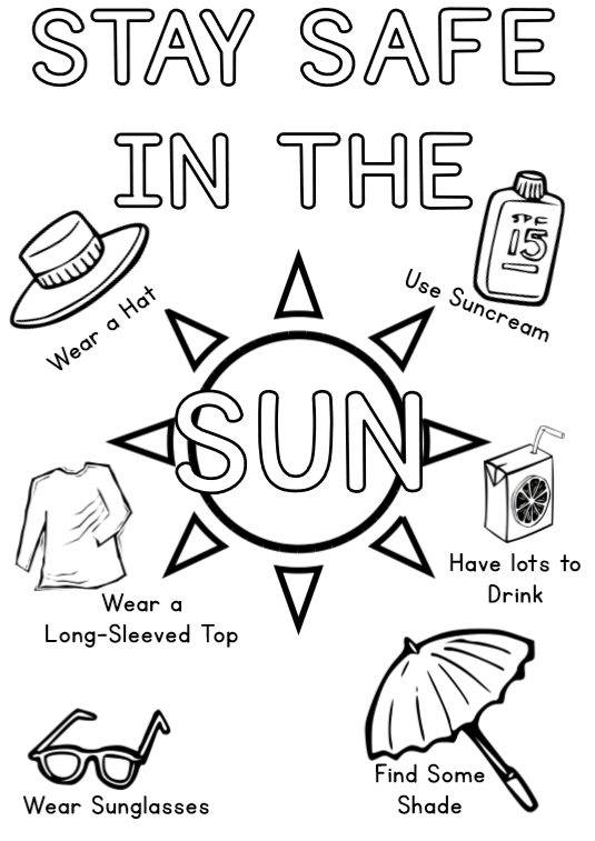 safety equipment coloring pages | Stay Safe In The Sun Colouring Sheet – Piggledots