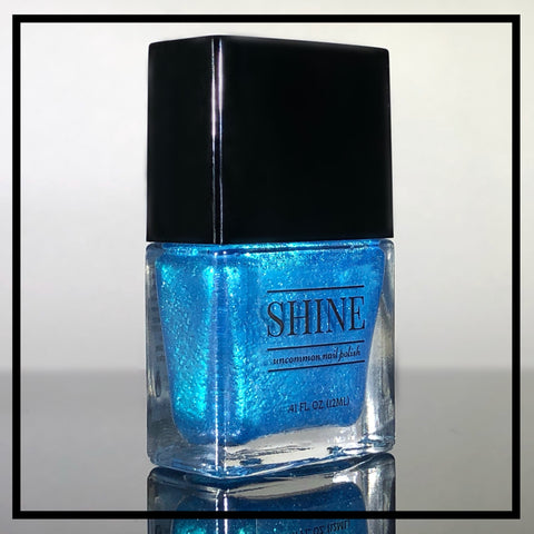 """I was on the boat, and..."" Vivid Aqua Blue Sparkling Metallic Nail Polish - SHINE Nail Polish"