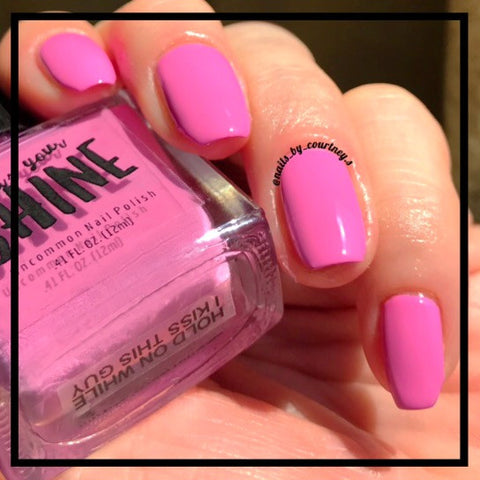 Hold on While I Kiss This Guy Pastel Hot Pink Fuchia Creme Indie Nail Polish