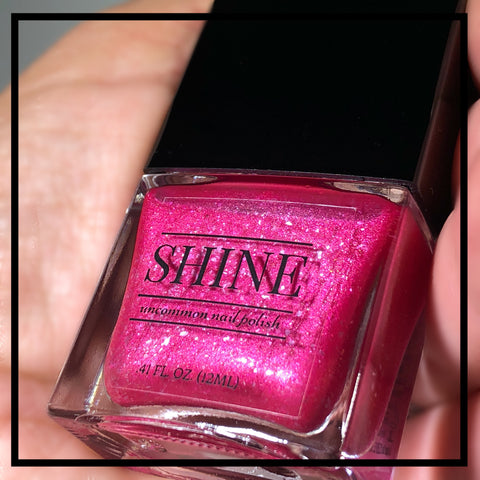 Glam Squad - Iridescent Hot Pink with Shimmering Ice Flakies Nail Polish. - SHINE Nail Polish