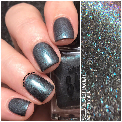 White Rabbit Holographic Black/Blue Indie Nail Polish