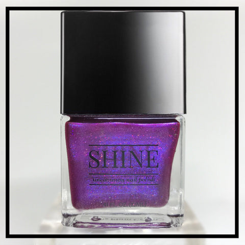 PLUM Crazy Deep Red, Purple and Black Holographic Glitter Indie Polish - SHINE Nail Polish