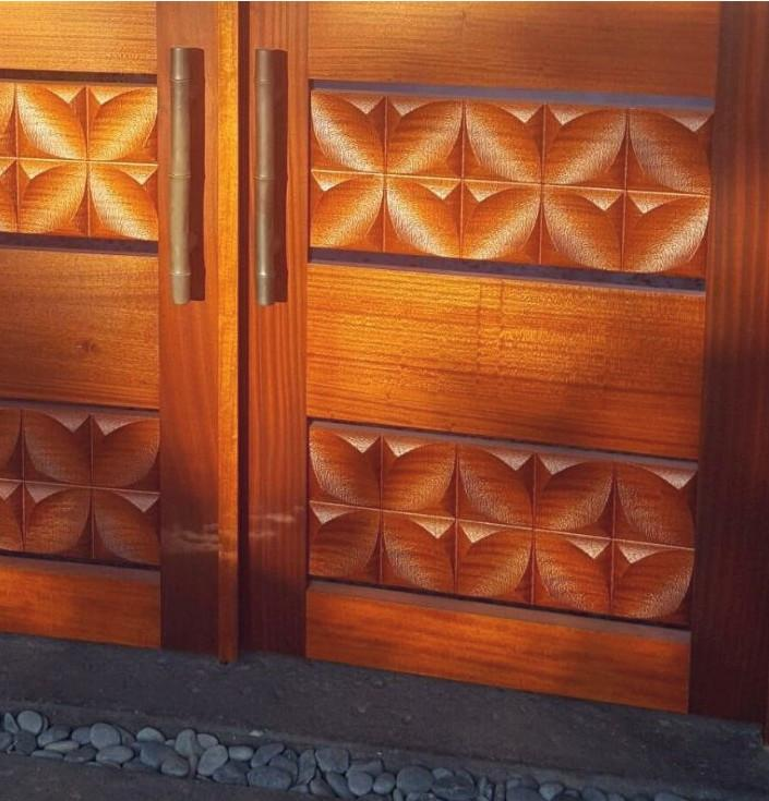 Textured Gates with Stylized Ixora Petals