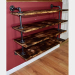 Black Pipe Floating Shelf Unit with 4 Shelves - By ThingHero