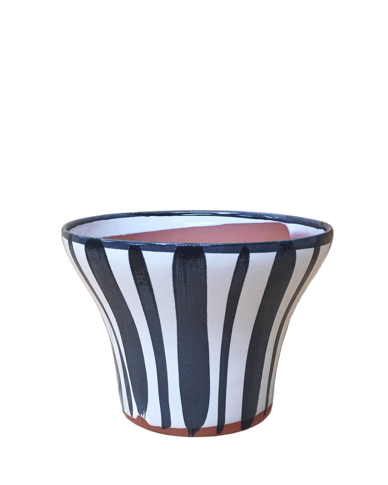 "Briar: Stripes Hand Painted Pot 4.75""H x 6.5""D"