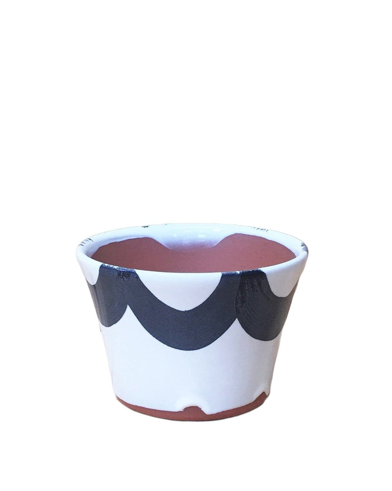 "BUNDLE OFFER Cassia: Ruffle Hand Painted Pot 3.5""H x 4.5""D"