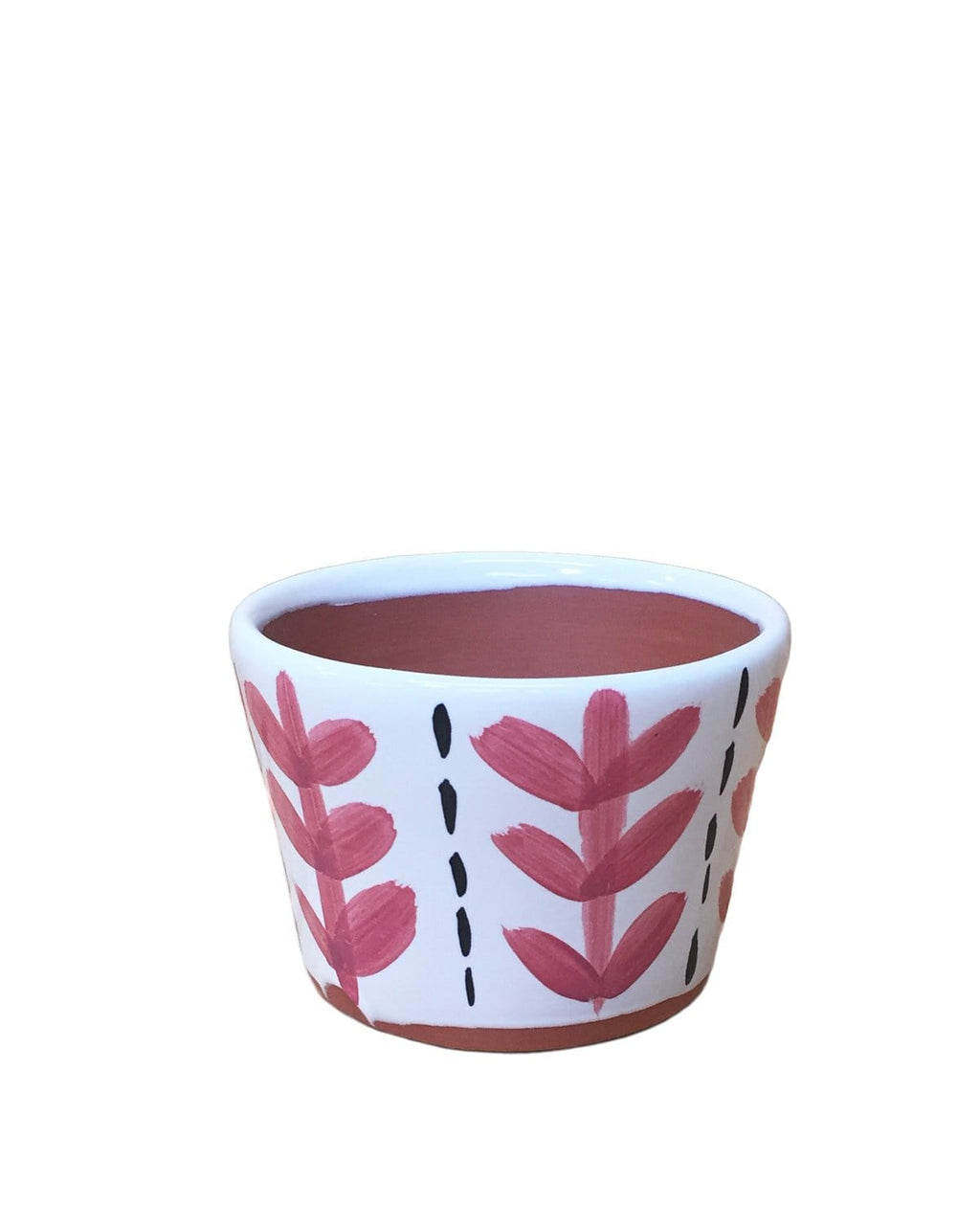 "Clove: Leaf Hand Painted Pot 3.5""H x 4.5""D"