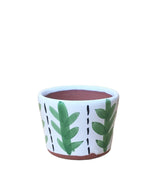 "Clove: Leaf Hand Painted Glazed Terracotta Pot 3.5""H x 4.5""D"