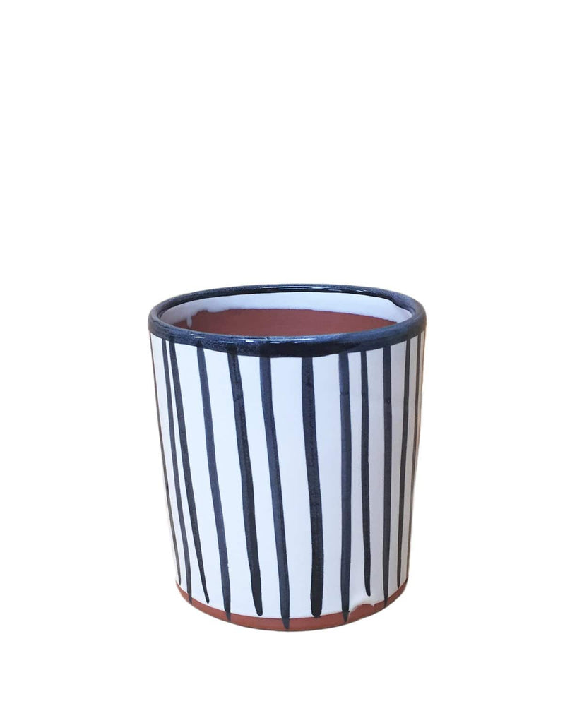 "Finch: Lines Hand Painted Pot 5.5"" H x 5""D"