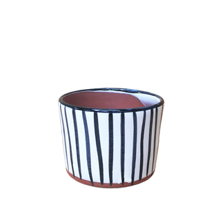 "Hazel: Lines Hand Painted Pot 3.5""H x 4.25""D"