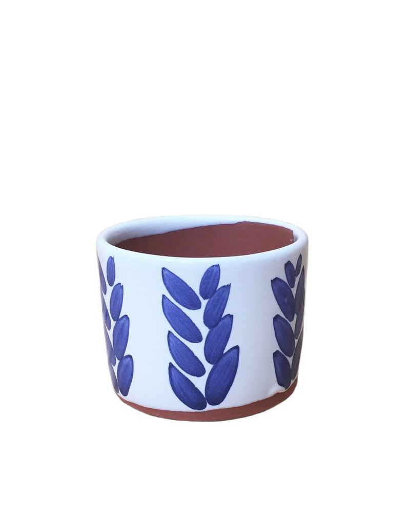 "Hazel: Wheat Hand Painted Pot 3.5""H x 4.25""D"
