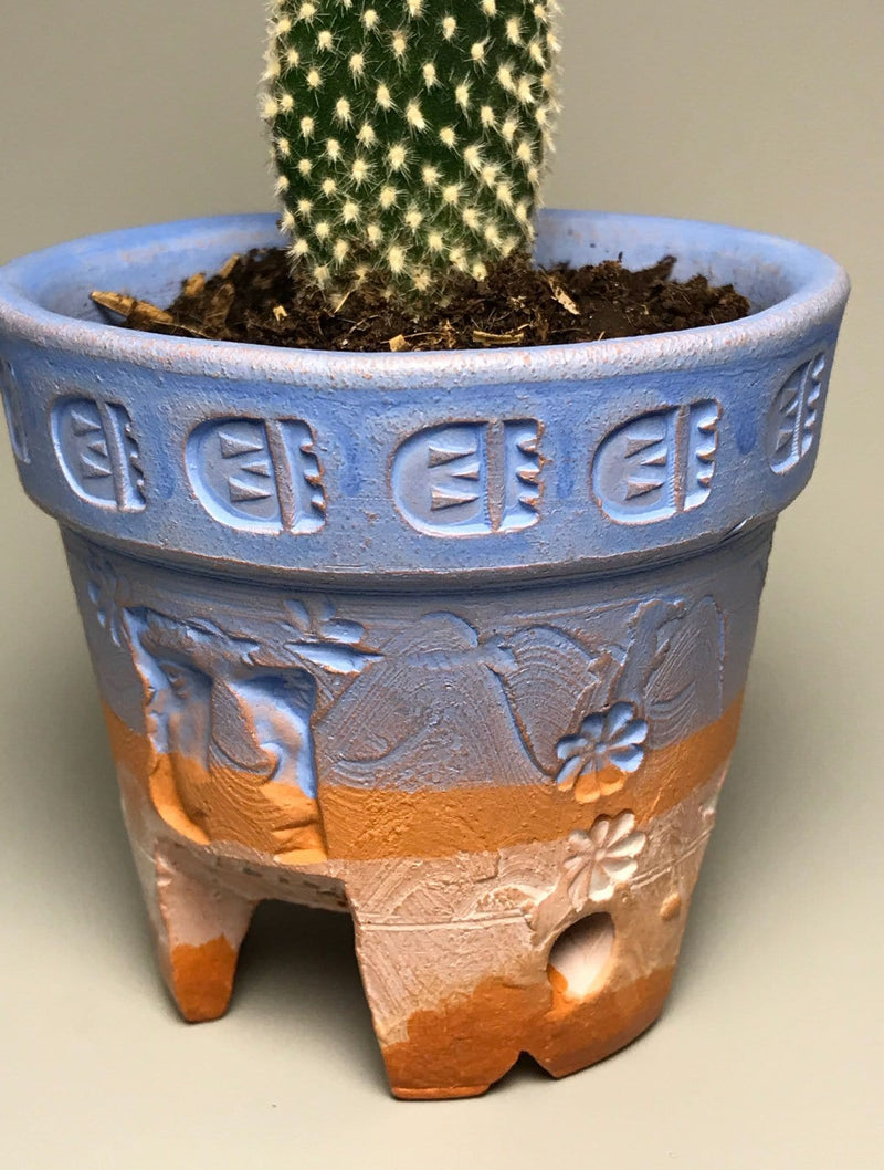 One-of-a-Kind No.16 Blue and White Split Foot Pot