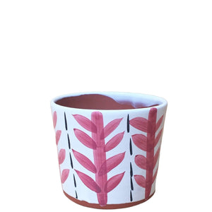 "Reed: Hand Painted Leaf Glazed Pot 5: H x 5.5""D"