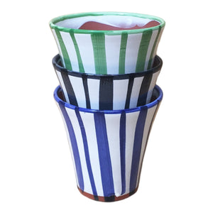 "Scout: Stripes Hand Painted Glazed Terracotta Pot 5.5: H x 5.75""D"