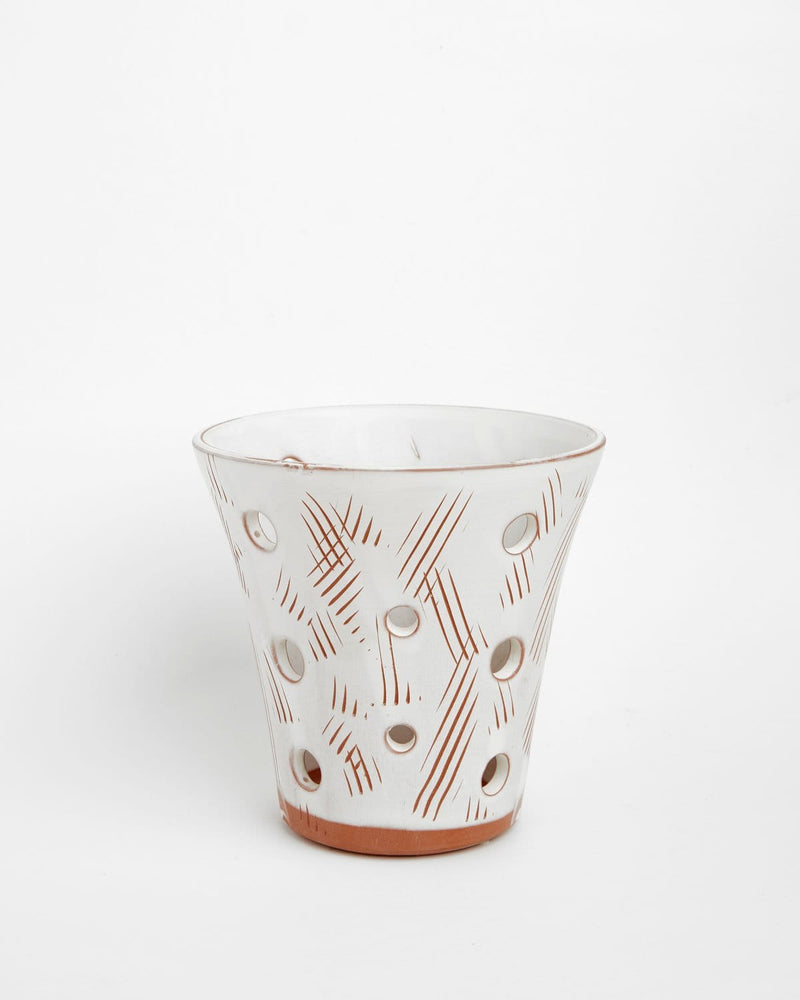 Scout: Antique White Orchid Pot With Holes