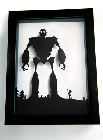 Iron Giant and Hogarth - hand cut paper