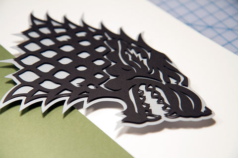 Game of Thrones House Stark sigil - hand cut 3D paper - willpigg