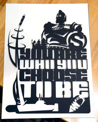Iron Giant and Hogarth Choose - hand cut paper
