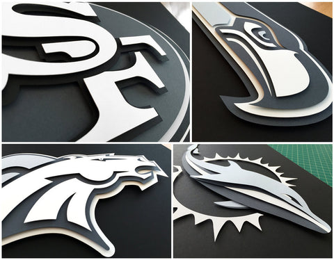 Football Custom Greyscale Logos - 3D hand cut paper