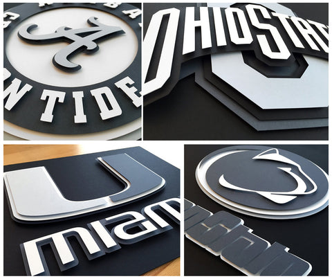 College Custom Greyscale Logos - 3D hand cut paper