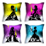 Throw Pillows - Princesses hand cut paper