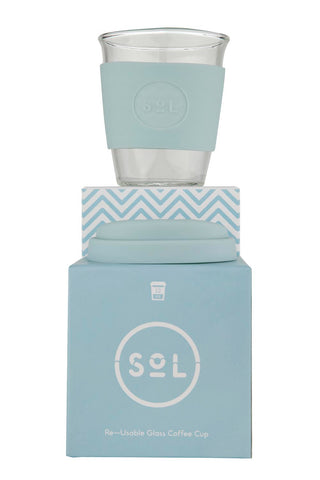 SOL Glass reusable cup- 12oz- Cool Cyan