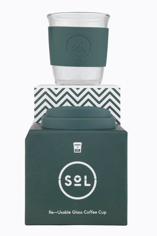 SOL Glass reusable cup- 8oz- Deep Sea Green